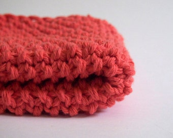 hand knit plushy cotton washcloth  in coral pink
