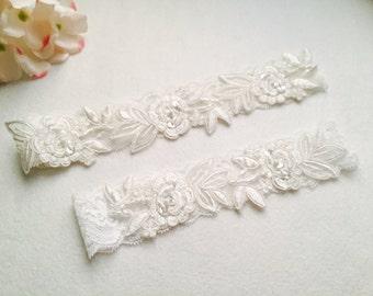 Wedding Garter , Tossing Garter, Keepsake Garter, bridal garter, off white Lace Garter, A19#