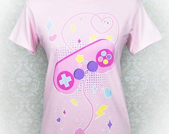 Player 1, START!, Fairy Kei Clothing, Pastel Goth, Geek Clothes, Plus Size, Aesthetic, Videogame Tshirt