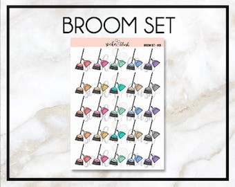 Broom and pan Planner Stickers Matte or Glossy -  for use with Erin condren - #08