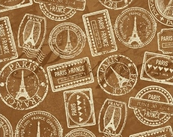 Brown Vintage Paris Passport Stamp Cotton Fabric from the Destination Paris Collection by Whistler Studios for Windham Fabrics