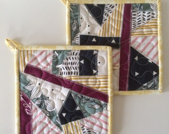 Set of patchwork potholders