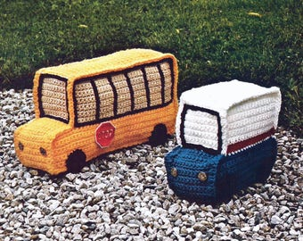 Crochet bus and mail truck-crochet pattern-Vintage pattern-toy