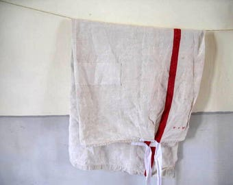 Antique French apron,linen butcher's wife's apron, Hand sewn linen  patches. Monogrammed MA - 39 euro.