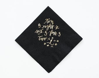Ten Second Countdown - Black New Years Eve Napkins - Set of 25