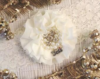 NHL Winnipeg Jets Ivory Lace Wedding Garter | Wedding Garter Set | Sports Garter | Bridal Shower Gift | Bridal Gift  Ask a Question