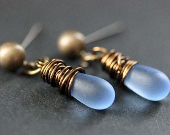 BRONZE Earrings - Frosted Blue Teardrop Earrings. Dangle Earrings. Post Earrings. Handmade Jewelry.