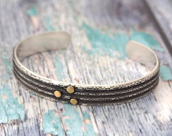 Sterling Silver Cuff Bracelet with 22K Gold accents - Unisex Cuff Bracelet - silver and gold cuff bracelet - for men women - cuff bracelet