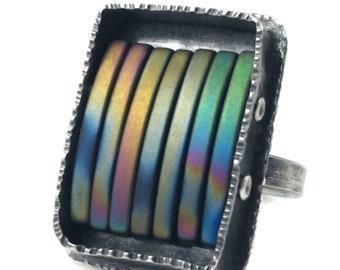 Rainbow Hematite Sterling Silver Ring