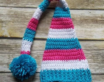 Long Tailed Newborn Baby Hat/Beanie With Braided Tail~ Pink, Blue and White. Baby Girl Photo Prop