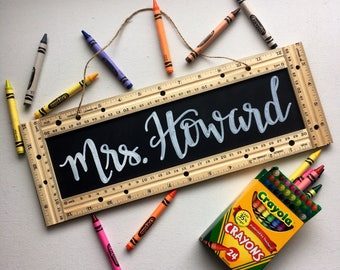 Personalized Teacher Sign • Gift • School • Ruler • Chalkboard