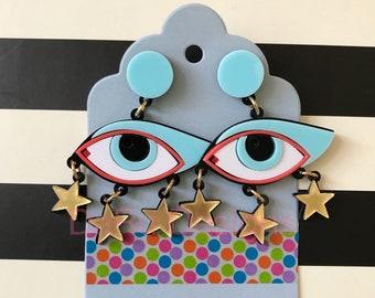 Acrylic eyes with stars earrings