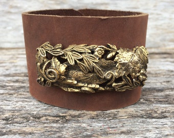 Distressed Brown Leather Cuff with Vintage Brass Jewelry size Small to Medium by Stacy Leigh