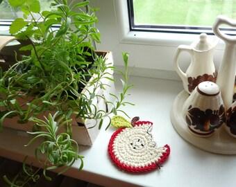 Crochet Apple Coasters - Crochet Fruit Coasters - Hostess Gift - Gift for Her - Gift for Mom - Gift for Grandma - Gift for Teacher