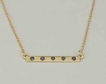 Solid Gold Black Diamond Bar Necklace - 14k, 18k, 22k yellow gold with black diamonds. Fully customizable. Fine Jewelry