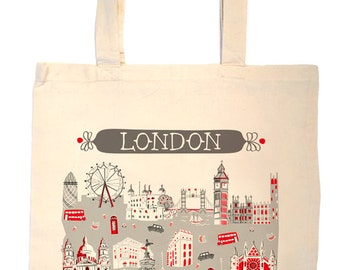London Tote Bag-City Tote-City Bag-London-Any City Tote-Red-Grey--Personalized-Custom-London Eye-London Landmark Bag-wedding tote