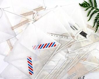3 handmade translucent envelopes