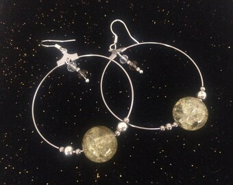 Large silver hoop earrings, Pearl iridescent green Bohemian tiny glass Center bead