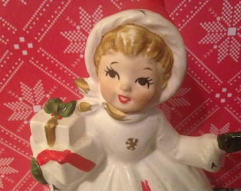 Vintage Napco Snowflake Christmas Girl Holding Presents Planter - X-8389