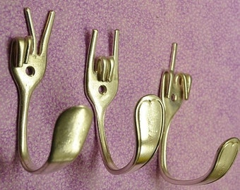 Peace x Fork You x Rock On Special Collector set 3 Silverware Coat Hooks