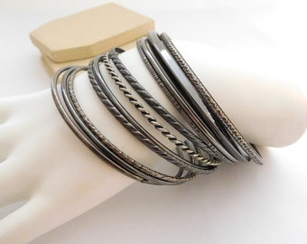 Vintage Retro Set 11 Gunmetal Silver Tone Layering Bangle Bracelet Lot Set P11