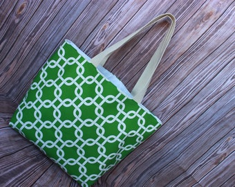 CLOSEOUT!- LARGE green and white GOTCHA Handbag/ Diaper Bag/ Purse/ Tote/ Beach Bag