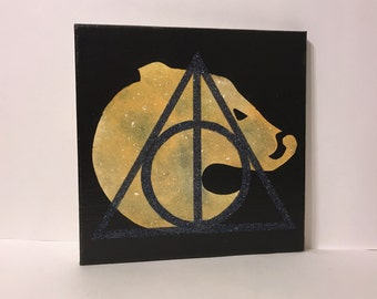 """Clearance - """"Hufflepuff"""" - Painted Canvas Inspired by Harry Potter"""