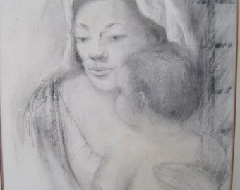 Pencil Drawing Mother and Child by Listed Artist Doris Rohr Mid Century