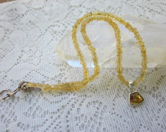 Faceted Citrine Pendant Set in Sterling Silver With Citrine Nugget Beads, Citrine necklace, Citrine Pendant, Citrine Jewelry