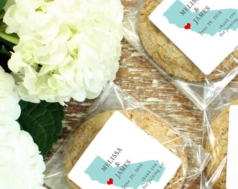 24 Personalized Cellophane Cookie Bags, Candy Bags - State Silhouette Label - ANY COLOR - Destination Wedding Favor, State Silhouette Favor