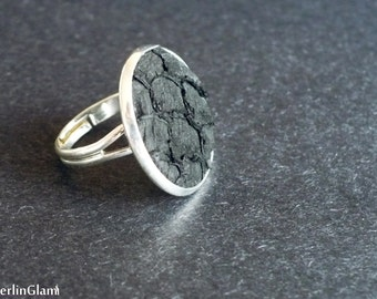 Black fish leather ring, elegant cocktail ring, gift for mom, gift for sister and best friend,