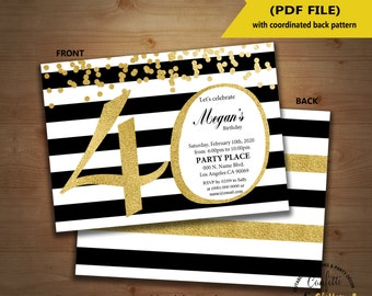 40th birthday Invitation black & white stripe gold glitter modern invite instant download YOU EDIT TEXT and print invite 5123