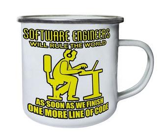 Software Engineer Will Rule the World Retro,Tin, Enamel 10oz Mug aa185e