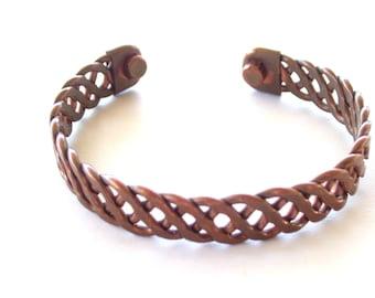 Vintage Copper Cuff Bracelet, Unisex Copper Cuff,  Copper Bracelet, Braided Copper Cuff, Copper Jewelry, Modernist Copper Cuff
