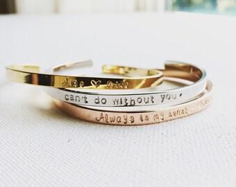 Personalized Cuff Bracelet, Custom Cuff Bracelet, Inspirational Cuff Bracelet,Inspirational Bangle, Personalized Gift, Hand Stamped Bracelet