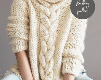 Knitting Pattern, Cable Knit Jumper, instant download, sweater pattern, DIY jumper pattern, super chunky knitting pattern, oversized jumper
