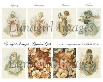 GARDEN GIRLS digital collage sheet, Victorian children flowers, vintage images, antique postcards ephemera seasons, shabby chic art DOWNLOAD