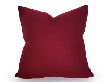 Solid Red Pillows, Dark Red Pillows, Burgundy Pillows, Decorative Pillow, Maroon, Merlot, Wool, Textured, Red Cushion, Zippered, 18, 20