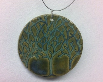Three Trees Ceramic  Pendant with Necklace in Waterlily green glaze