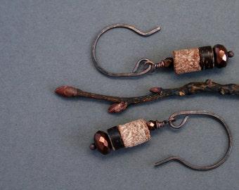 earthy earrings with mahogany pod beads - small dangle - rustic jewelry - brown earrings