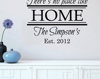 Personalized There's No Place Like Home Wall Decal 29x22