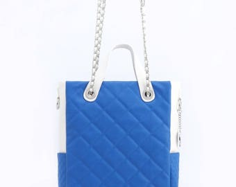 Kathi travel tote - imperial blue and white