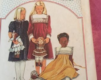 Vintage Simplicity Cinderella pattern 6657 girls' dress long sleeve short sleeve bib collar uncut