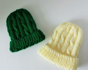Baby's Cabled Beanie in Aran White or Kelly Green - Sizes 0-3 Mos. and 3-6 Mos.