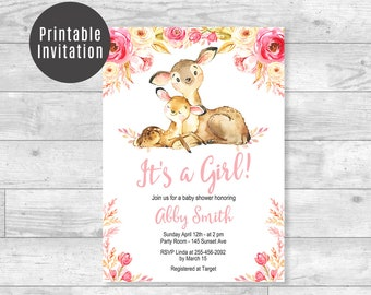 Deer It's A Girl Baby Shower Invitation Blush Pink Floral Woodland Animals Mom and Baby Deer Custom Baby Shower Printable Invite 5x7 ID03