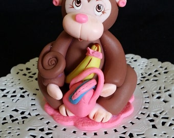 Monkey Cake Topper, Monkey Baby Shower, Girls Monkey Birthday, Pink Monkey For Cake, Jungle Baby Shower, Monkey Decor, Jungle Monkey Topper