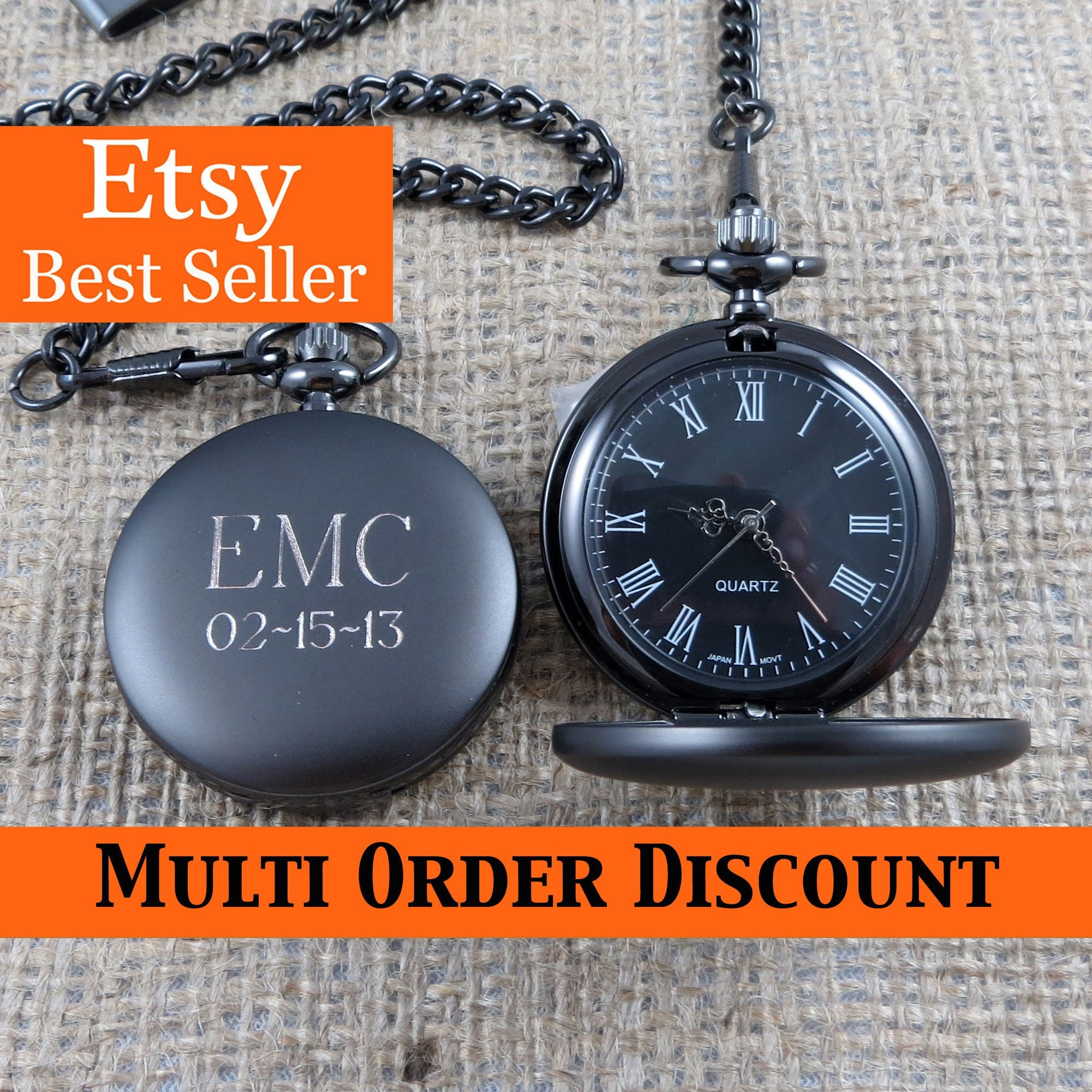 Personalized Gunmetal Pocket Watch Custom with Monogram, Engraved Gifts for Men, Best man, Groomsman, Christmas, Monogrammed (775)