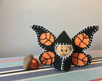 Butterfly Gnome Doll- felt on cork