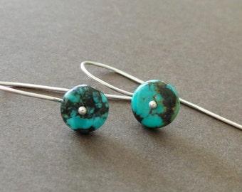 Petite Turquoise Earrings Sterling Birthstone Earrings Simple Modern Tiny Delicate Earrings Understated Earrings - Sample Sale