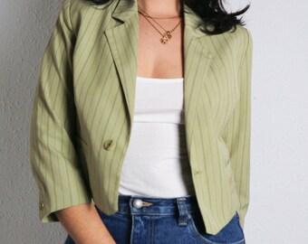 Pinstripe blazer, khaki blazer, pinstripe jacket, french sleeve blazer, cropped jacket, vintage blazer, 90s jacket, beige jacket, size M